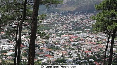 Panoramic high angle view of Cape Town and the mountains...