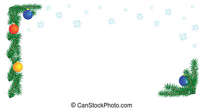 Christmas border on white background, horizontal...