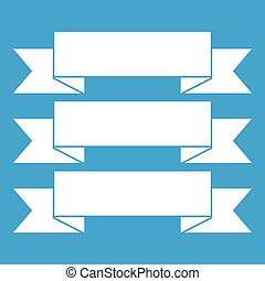 Three ribbons icon white isolated on blue background vector...