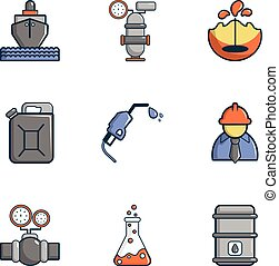 Oil transportation icons set, cartoon style