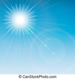 Sun is shining brightly with a flare on a blue sky...