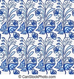 Gzhel motif background. Seamless pattern of Chinese or...