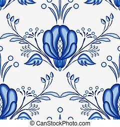 Gzhel style background. Seamless pattern of Chinese or...
