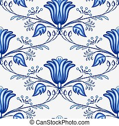 Seamless blue pattern from flowers and branches. Stylization...