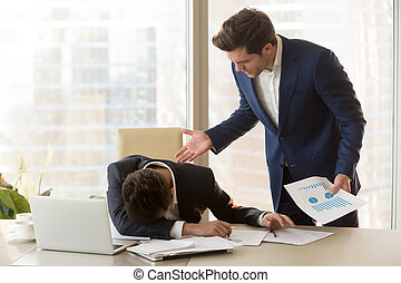 Angry boss yelling at depressed employee for failure, missed...