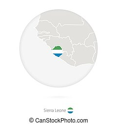 Map of Sierra Leone and national flag in a circle.