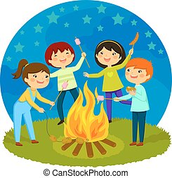 kids having a bonfire