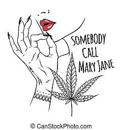 Hand drawn young woman holding fingers in smoking gesture isolated on white background. Flash tattoo or print design cannabis vector illustration