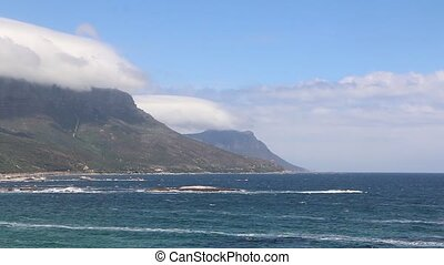 View of the coastline and famous Table Mountain in Cape...