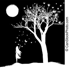 farewell to dream - black and white fantasy vector...