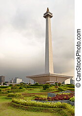 Jakarta National Monument in a public park, Indonesia