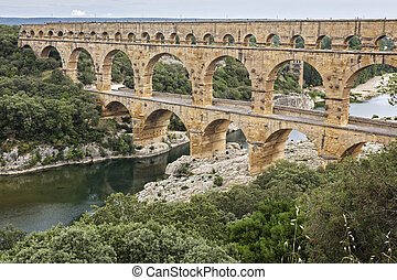 Historic Pont du Gard aqueduct in Southern France