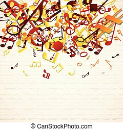 Colorful Notes Background - Colorful music background with...