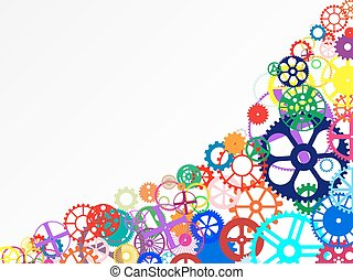 Gears Background - Gears and wheels. Artistic multicolored...