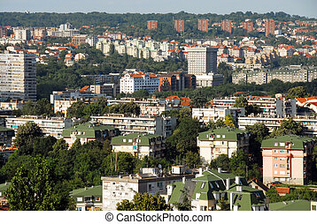 Belgrade view - view of Belgrade, Serbia, modern buildings...