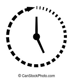 Passage of time icon, clock missing time, vector concept...