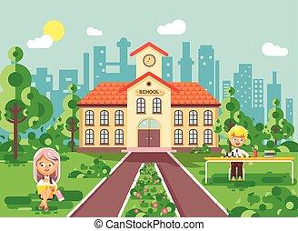 Vector illustration back to school character schoolgirl...