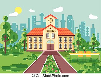 Vector illustration back to school architecture two-story...