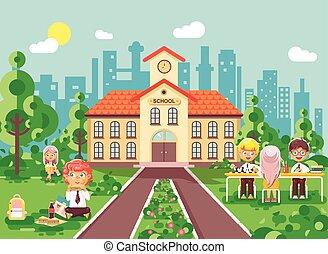 Vector illustration children characters schoolboy schoolgirl...