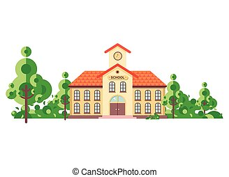 Vector illustration isolated back to school architecture...