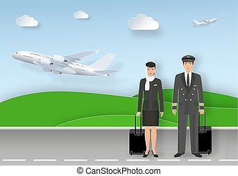 Paper art card with muslim pilot and stewardess in uniform and hijab standing on airport runway.