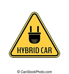 Hybrid car caution sticker. Save energy automobile warning sign. Electric plug icon in yellow and black triangle.