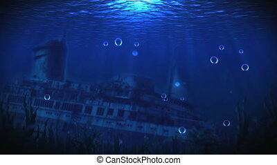The ship on the seabed - The bottom of the sea with a sunken...
