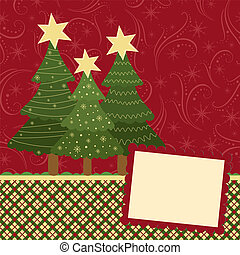 Blank template for Christmas greetings card, postcard or...