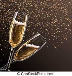 Two glasses with champagne on a black background with sparks.