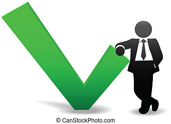 Business man symbol leans on OK check mark - A symbol...