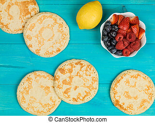 Shrove Tuesday Fresh Cooked Pancakes On A Blue Background