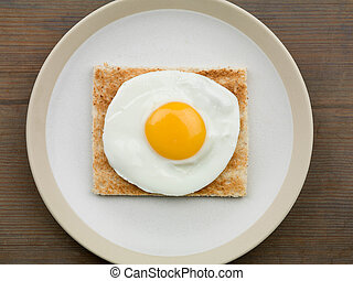 Fried Egg on Toast - Healthy Breakfast Food or Snack of a...