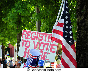 Register to vote sign. - Register to vote sign displayed...