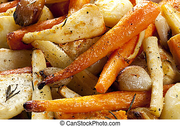 Roasted Root Vegetables - Roasted root vegetables, in close...
