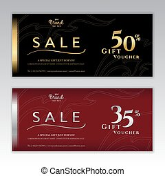 Elegant gift voucher or gift card for discount promo event