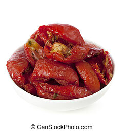 Sundried Tomatoes - Sundried tomatoes in a small white bowl,...