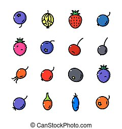 Thin line Berry icons set, vector illustration - Thin line...