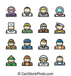 Professions icons set, vector illustration