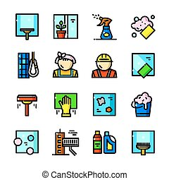 Window Cleaning Services vector icons