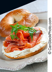 Smoked Salmon Bagel - Bagel with smoked salmon and cream...