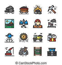Coal Mining icons set vector illustration