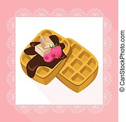 Waffles chocolate syrop desserts delicious vector...