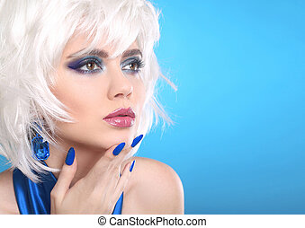 Beauty makeup Portrait Woman. White Hair. Short hairstyle. Blue manicured nails. Face Close up. Sensual lipstick. Fringe. Vogue Style.