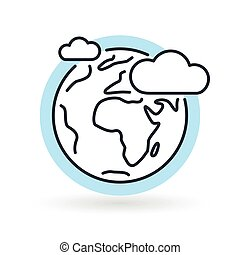 Simple earth with clouds and blue sky icon