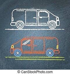 Minivan car sketch on chalkboard