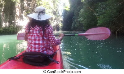 Woman Exploring Beautiful Lagoon On Kayak Boat Action Camera...