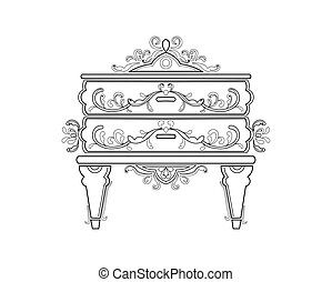 Baroque bedside commode furniture rich set collection....