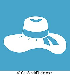 Woman hat icon white isolated on blue background vector...