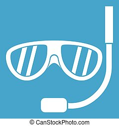 Swimming mask icon white isolated on blue background vector...