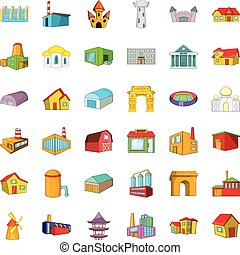 Old building icons set, cartoon style - Old building icons...
